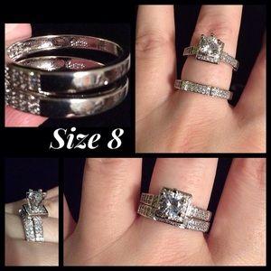 Jewelry - Ladies Sapphire & Silver Engagement Wedding Set 8